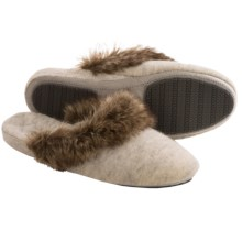 Acorn Cashmere Mule Slippers - Faux-Fur Trim (For Women) in Pearl Grey - Closeouts