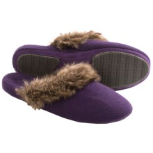 Acorn Cashmere Mule Slippers - Faux-Fur Trim (For Women) in Petunia - Closeouts