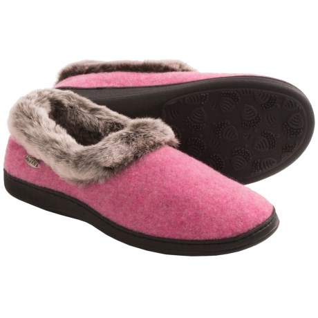 Acorn Chinchilla Collar Slippers Wool (For Women)