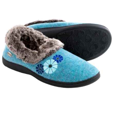 Acorn Chinchilla Flower Slippers - Boiled Wool (For Women) in Sea - Closeouts