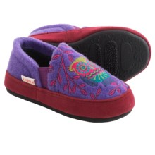 Acorn Colby Gore Moc Slippers (For Kids and Youth) in Purple Owl - Closeouts