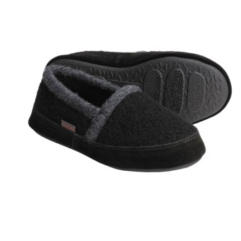 Acorn Cozy Moc Slippers - Boiled Wool (For Boys) in Black