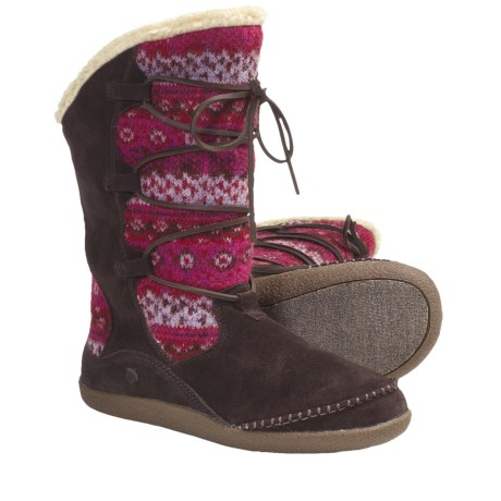Acorn Crosslander Boots - Suede-Wool (For Women) in Mulberry