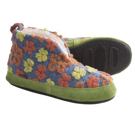 Acorn Daisy Bootie Slippers - Wool Blend (For Women) in Navy