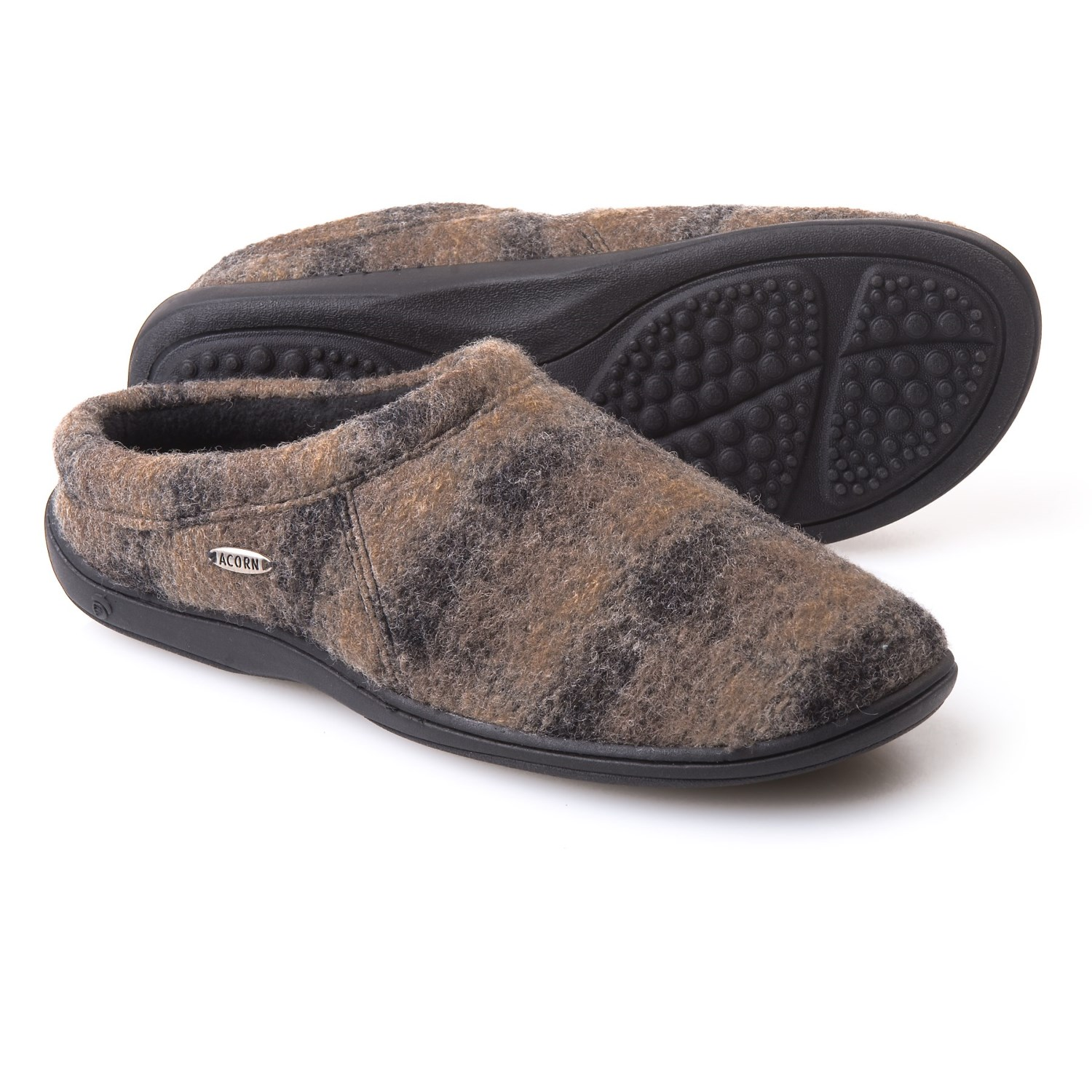 Acorn Digby Gore Slippers Wool Blend For Men In Driftwood Plaid