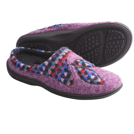Acorn Drew Mule Slippers - Felted Italian Wool Blend (For Women) in Plum Heather