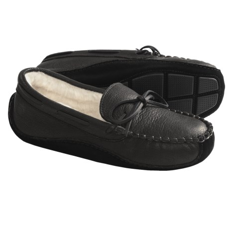 Acorn Driver Moc Slippers - Bison Leather (For Men) in Black