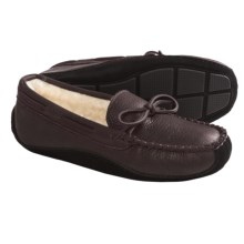 Acorn Driver Moc Slippers - Bison Leather (For Men) in Dark Brown - Closeouts