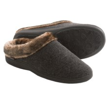 Acorn Faux-Fur Collar Scuff Slippers - Wool Blend (For Women) in Charcoal Heather - Closeouts