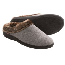 Acorn Faux-Fur Collar Scuff Slippers - Wool Blend (For Women) in Light Grey - Closeouts