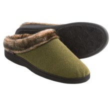 Acorn Faux-Fur Collar Scuff Slippers - Wool Blend (For Women) in Olive - Closeouts