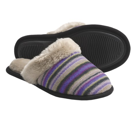 Acorn Fleece Scuff Slippers (For Women) in Fun Stripe