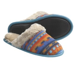Acorn Fleece Scuff Slippers (For Women) in Royal Metroscape