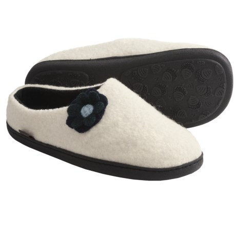 Acorn Flower Mule Slippers - Boiled Wool, Fleece Lining (For Women) in Ivory