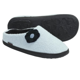 Acorn Flower Mule Slippers - Boiled Wool, Fleece Lining (For Women) in Old Dusk Blue