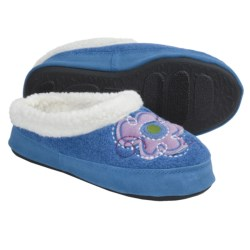 Acorn Flower Power Mule Slippers (For Girls) in Sea Heather