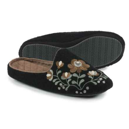 Acorn Flower Scuff Slippers - Wool (For Women) in Black - Closeouts