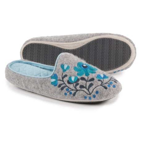 Acorn Flower Scuff Slippers - Wool (For Women) in Heather Grey