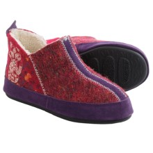 Acorn Forest Bootie Slippers - Wool, Berber Fleece Lined (For Women) in Deep Red - Closeouts