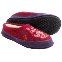 Acorn Forest Mule Slippers - Boiled Wool, Berber Fleece Lined (For Women) in Deep Red - Closeouts