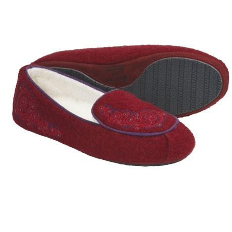 Acorn Giselle Moc Slippers - Boiled Wool (For Women) in Deep Red