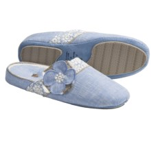 Acorn Grace Scuff Slippers (For Women) in Chambray Linen - Closeouts
