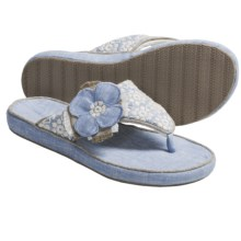 Acorn Grace Thong Slippers - Fleece Lining (For Women) in Chambray Linen - Closeouts
