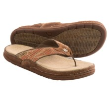 Acorn Hadly Thong Sandals - Leather-Jute (For Women) in Adobe/Luggage - Closeouts