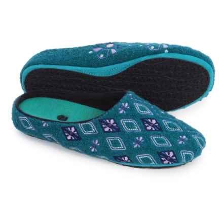 Acorn Henna Scuff Slippers - Boiled Wool (For Women) in Juniper - Closeouts