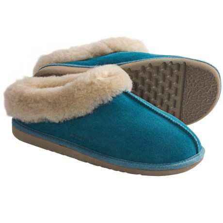 Acorn Klogs Slippers - Sheepskin (For Women) in Turquoise