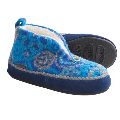 Acorn Leeda Bootie Slippers - Wool Blend (For Women) in Turquoise/Blue