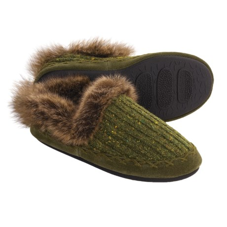 Acorn Merino Marvel Shoes - Slippers, Wool Blend (For Women) in Moss