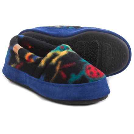 Acorn Moc Fleece Slippers (For Little and Big Kids) in Black Lizard - Closeouts