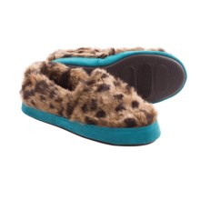 Acorn Moc Slippers - Faux Fur, Fleece Lining (For Kids and Youth) in Snow Leopard - Closeouts