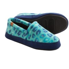 Acorn Moc Slippers - Faux Fur, Fleece Lining (For Kids and Youth) in Turquoise Leaopard - Closeouts