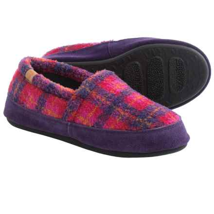 Acorn MOC Slippers (For Women) in Magenta Plaid - Closeouts