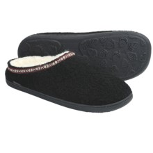 Acorn Mule Slippers - Boiled Wool (For Men) in Black - Closeouts