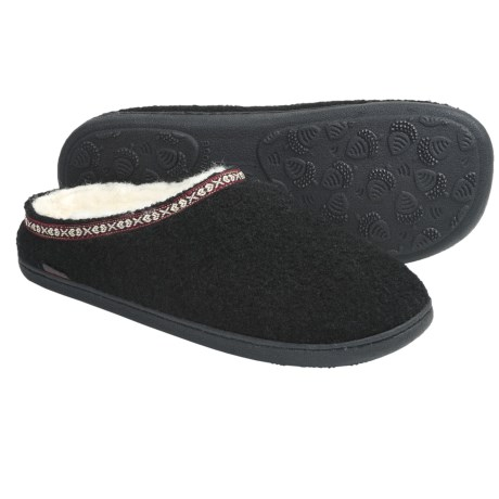 Acorn Mule Slippers - Boiled Wool (For Men) in Black