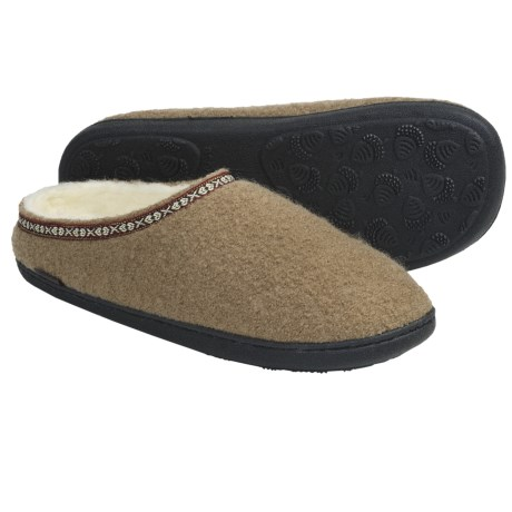 Acorn Mule Slippers - Boiled Wool (For Men) in Camel