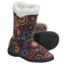 Acorn Peek-a-Boot Slippers - Fleece (For Girls) in Chocolate Dots - Closeouts