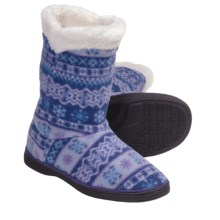 Acorn Peek-a-Boot Slippers - Fleece (For Girls) in Icelandic Blue - Closeouts
