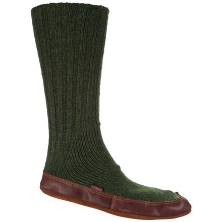 e699f917db7862 Acorn Pine Ragg Wool Slipper Socks - Mid Calf (For Men and Women) in