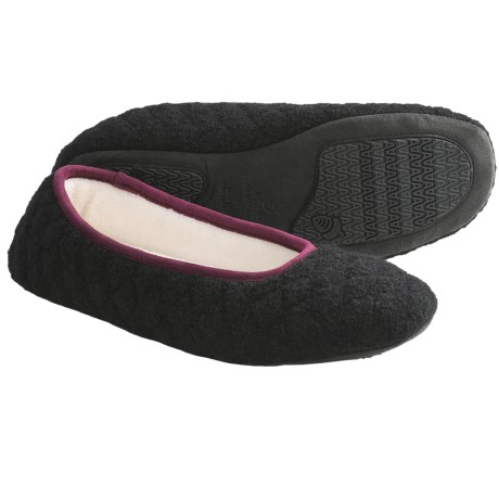Acorn Quilted Ballerina Slippers - Boiled Wool (For Women) in Chocolate