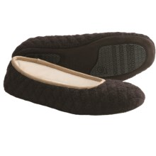 Acorn Quilted Ballerina Slippers - Boiled Wool (For Women) in Chocolate - Closeouts