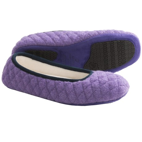 Acorn Quilted Ballerina Slippers - Boiled Wool (For Women) in Purple