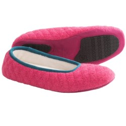 Acorn Quilted Ballerina Slippers - Boiled Wool (For Women) in Winter Pink
