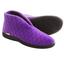 Acorn Quilted Bootie Slippers - Boiled Wool (For Women) in Purple Italian Plush - Closeouts