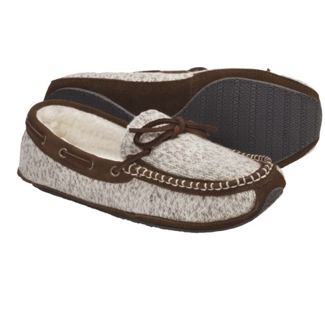 Acorn Ragg Time Moc Slippers - Ragg Wool-Blend (For Women) in Grey Ragg