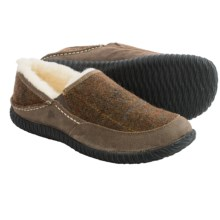 Acorn Rambler Slippers -  Wool-Leather, Fleece Lined (For Men) in Olive Plaid - Closeouts