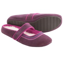 Acorn Reva Mary Jane Slippers - Nubuck (For Women) in Black Orchid - Closeouts